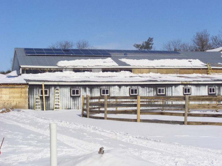 Barn roof with solar PV panels
